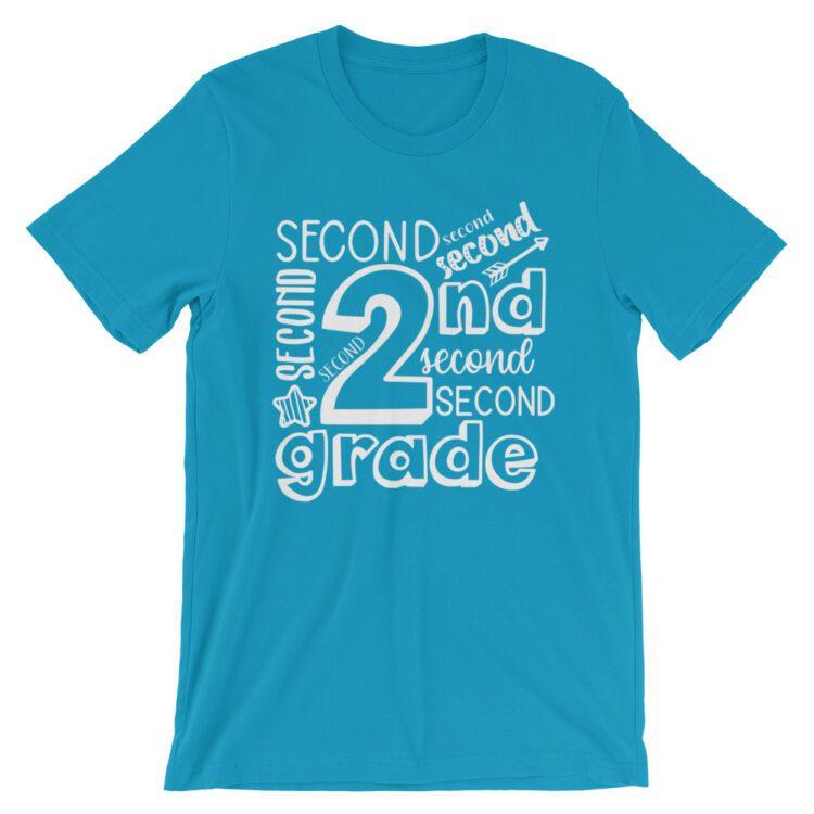 Aqua Blue Doodle 2nd Grade Teacher Tee