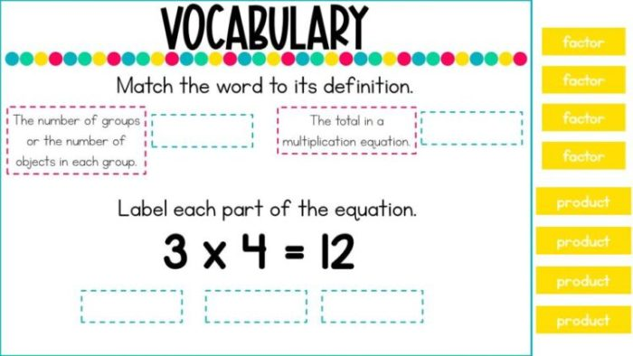 Introduction to Multiplication Digital Lesson- Vocabulary product and factor
