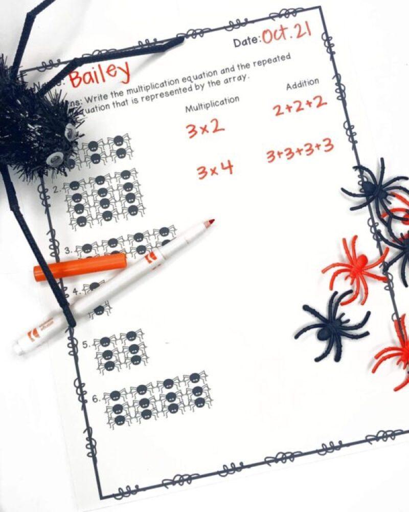 Spider Math Arrays printable