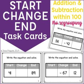 Start Change End without Regrouping task cards