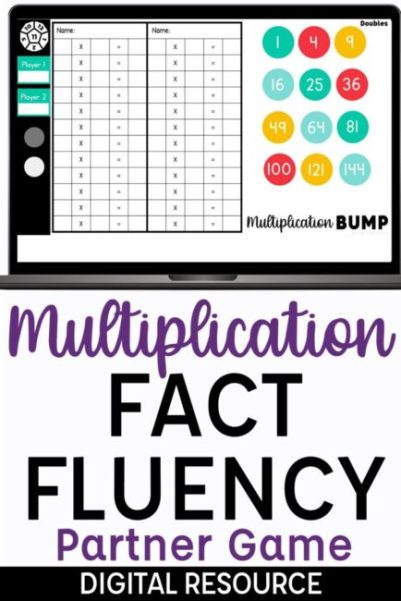 Multiplication Bump Digital Partner Game for Google Slides Multiplication Game