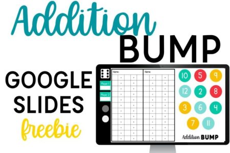Addition Bump freebie for Google Slides Digital Addition Game