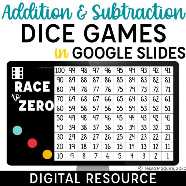 Digital Addition & Subtraction Dice Games in Google Slides