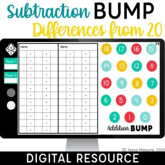 Digital Subtraction Bump Games Subtraction within 20