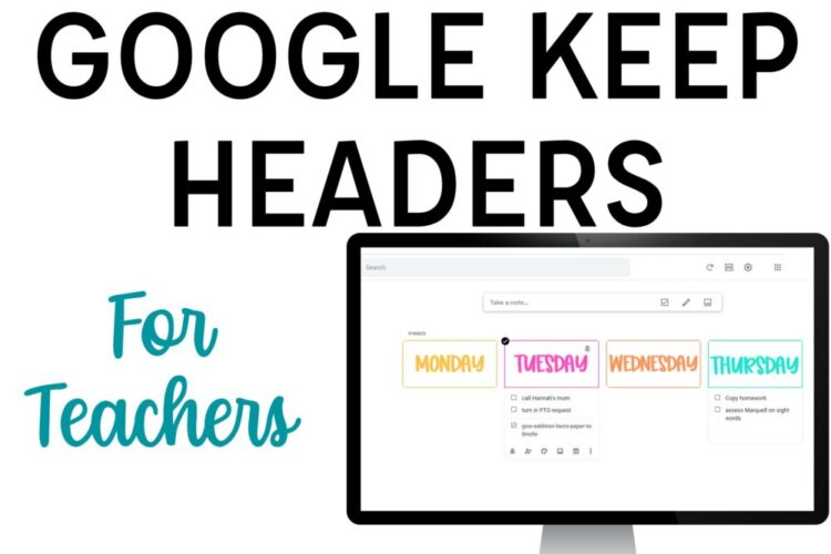 Google Keep Headers for Teachers