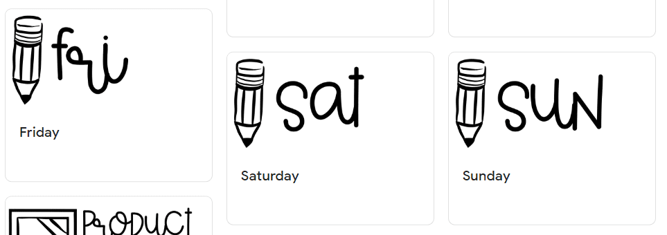 Google Keep days of the week arrangement with daily headers