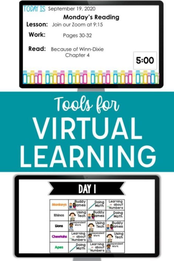 Tools for Virtual Learning with daily agenda slide, timer, and small group rotations