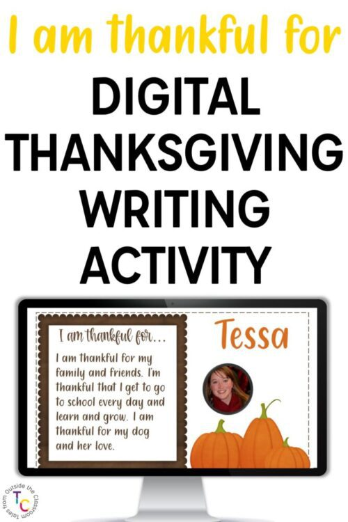 I am thankful for digital writing activity text and computer monitor with picture of writing assignment