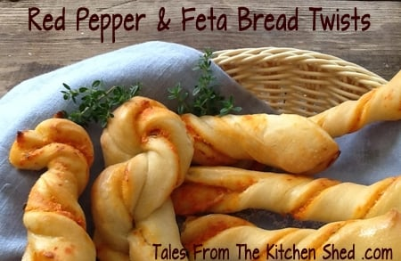 Homemade Garlic Bread Twists - these are sure to disappear quickly! Twisted with a Cheese & Herb mixture or Sundried Tomato & Bacon or Roasted Red Pepper & Feta Cheese. Why not try them all ?