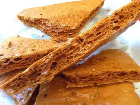 Best Ever Honeycomb - Perfect for Bonfire Night or Halloween! Step by step instructions with Kitchen Shed Tips to help you make the best & crunchiest honeycomb. This honeycomb will keep for months stored in an airtight container. AKA Cinder Toffee, Hokey Pokey, Sponge Candy, Puff Candy & Crunchie.