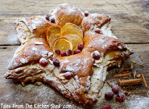 Cranberry & Marzipan Star Bread - Give your Christmas table a festive touch by making this gorgeous & delicious centrepiece. Step by step instructions included.