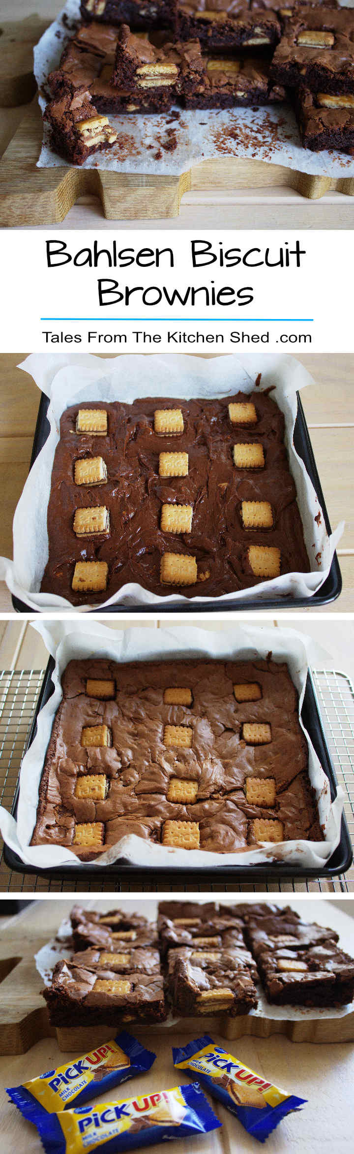 Biscuit Brownies : Deliciously decadent gooey brownies filled with little bites of crunchy chocolate biscuit, with the characteristic papery crust and dotted with PickUp! Minis. Give your brownies a tasty biscuit twist!