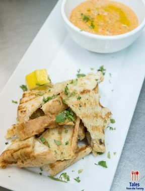 Grilled Bread with Roasted Pepper and 3 Cheese Dip