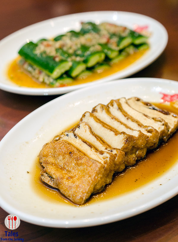 Kams Roast Marinated Tofu and Marinated Cucumber in Garlic and Vinegar