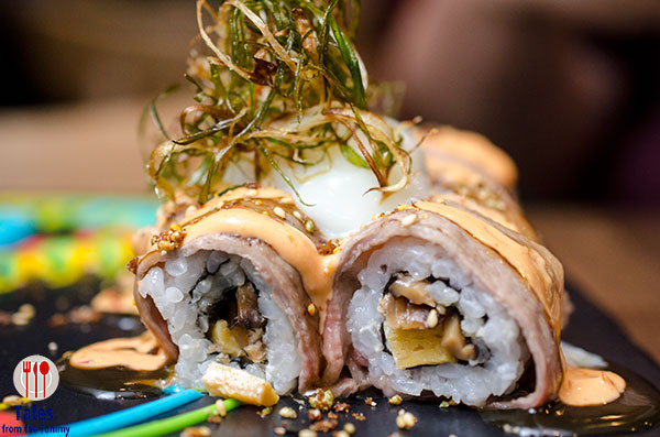 Gyu maki with onsen egg
