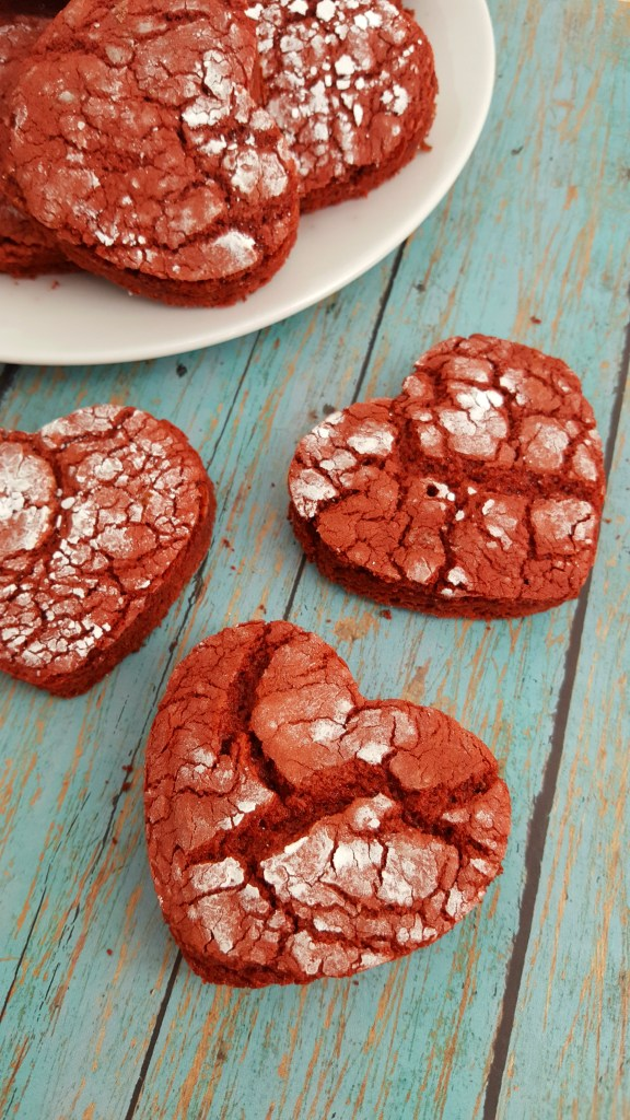 Yummy Red Velvet Heart Crinkle Cookies Recipe for Valentine's Day