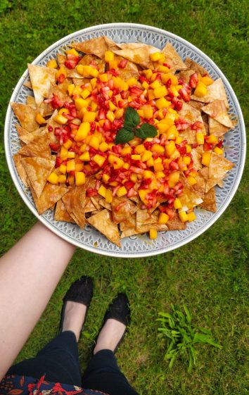 Sweet Cinnamon Dessert Nachos With Fruit Salsa & Caramel Sauce