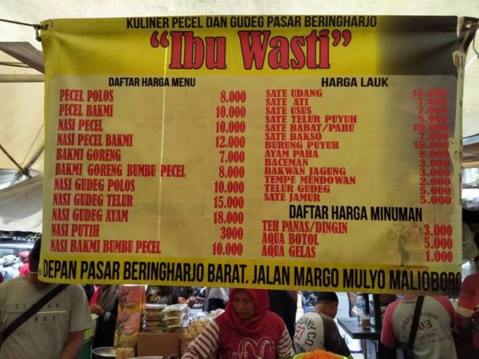 Street food prices of Yogyakarta