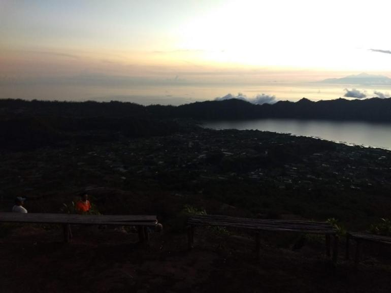 Benches at the top to sit on at Mount Batur