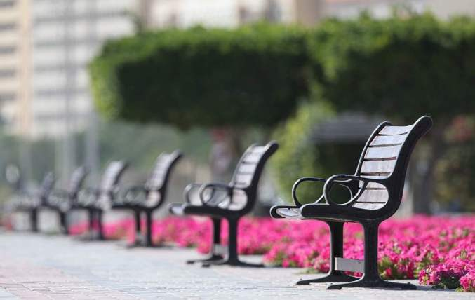 empty benches for social distance