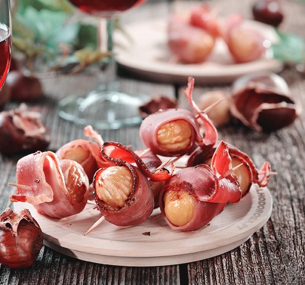 Sugestão para o São Martinho - Castanhas enroladas em Bacon