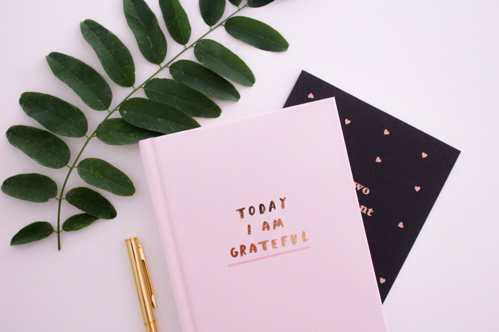 A pink notebook with the following in gold lettering: today I am grateful