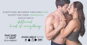 A quote in black and green on a grey background, beside an embracing couple: everything between them was fake, except for their friendship, which was a different kind of everything.
