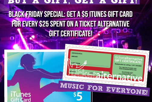 Black Friday Special! Buy a TA Gift Certificate & Get an iTunes Gift Card!