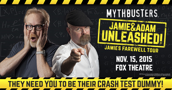 Giveaway: Win Tickets to see Mythbusters: Jamie & Adam Unleashed @ The Fox Theatre 11/15!