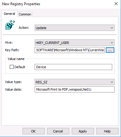 Hive: HKCU | Key Path: SOFTWARE\Microsoft\Windows NT\CurrentVersion\Windows | Value Name: Device | Value Type: REG_SZ | Value Data: PrinterQueueName,winspool,Ne01: