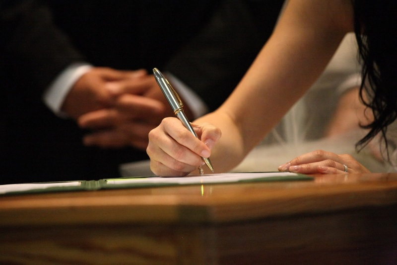 What is the process at the Marriage Registry office ? At what point are we legally Married?