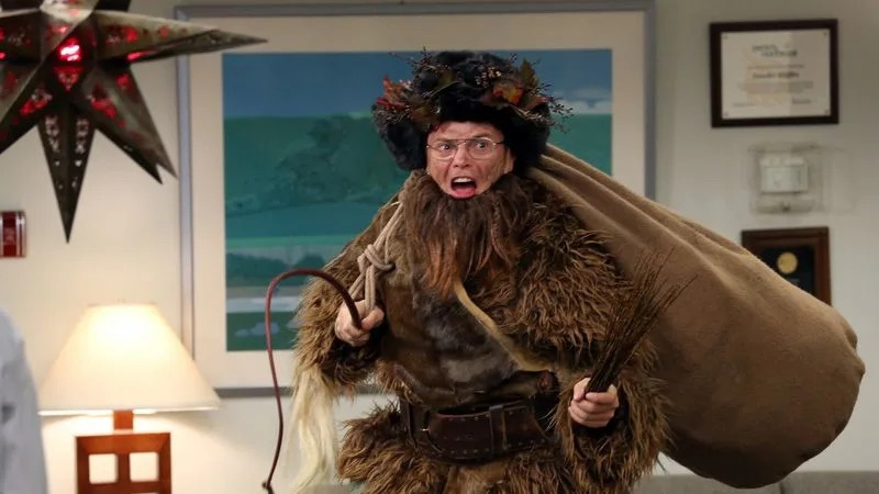 Dwight from The Office, playing Belsnickel