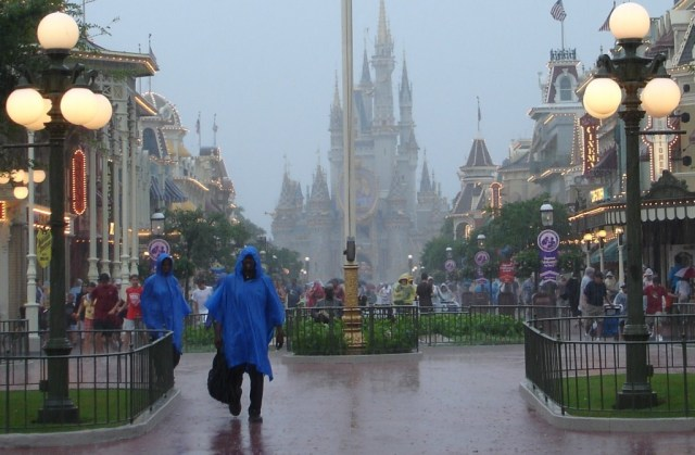 disney parks magic kingdom castle in rain