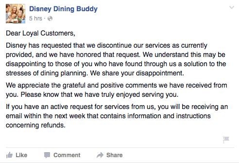 Disney Dining Buddy Closed