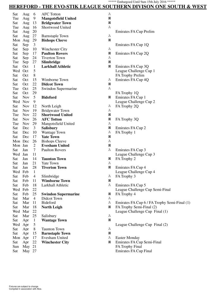Hereford FC Fixture List 2016-17
