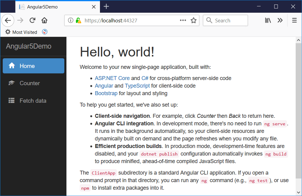 Angular 5 app running