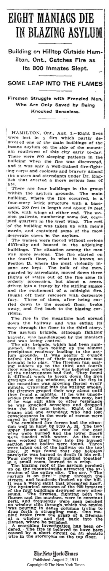New York Times article on the fire. August 2, 1911
