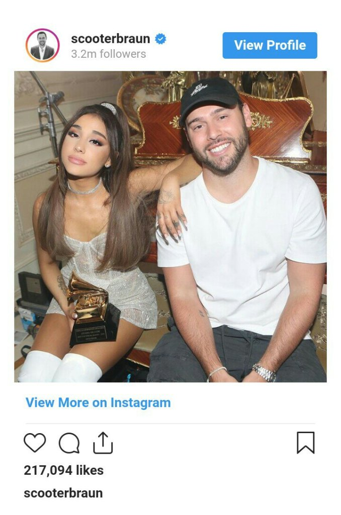 Ariana Grande Shows Off Her Newly Won Grammy Award