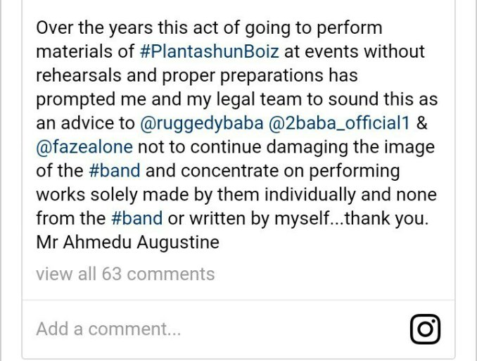 Black Face sends warning to 2Baba, Ruggedman and Faze