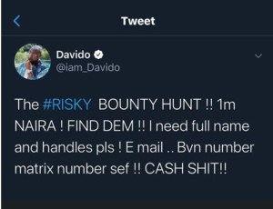 Davido promises to give N1m cash to anyone that find the ladies who accused him of impregnating one of them