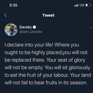 Davido showers prayer on Twitter, prays for everyone to be successful