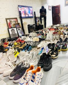 Much Money!! Akpororo shows off his shoe collections (Photo)