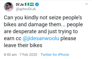 Di'ja slams Lagos State government for seizing & damaging people's bikes