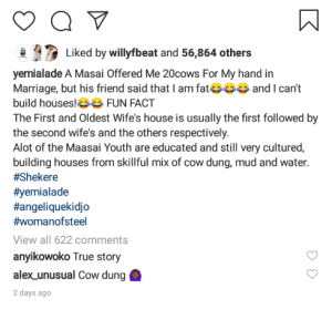 Yemi Alade reveals a man asked for her hand in marriage with 20 Cows
