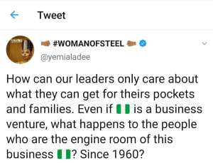 Yemi Alade calls out Nigerian government for being selfish and careless to the citizens