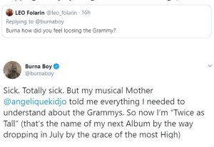 Burna Boy reveals he felt totally sick when he lost at the 62nd Grammy Awards