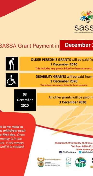 SASSA social grant payment dates for December 2020