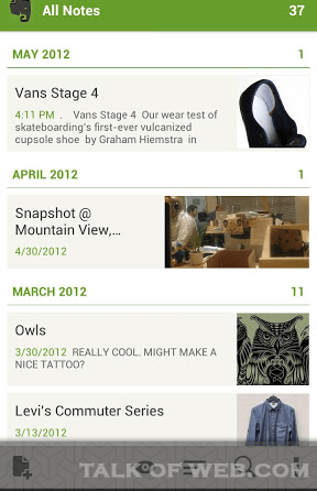 Evernote From Playstore for Android