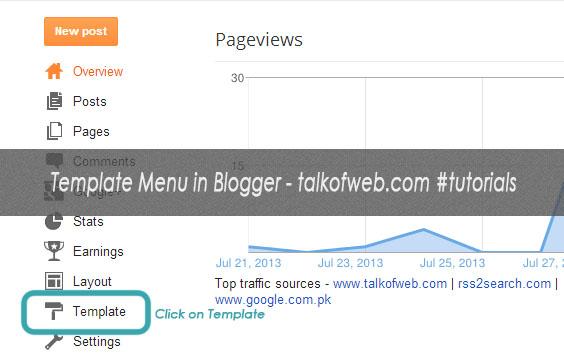 Edit Template menu in Blogger