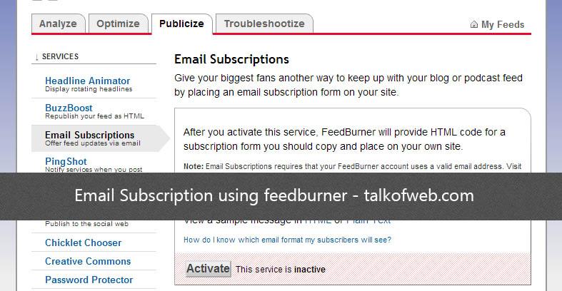 Email Subscription using feedburner